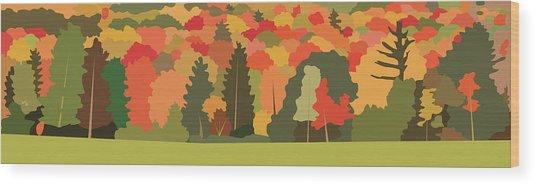 Fall Forest Wood Print by Marian Federspiel