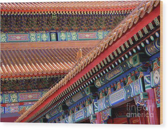 Facade Painting Inside The Forbidden City In Beijing Wood Print by Julia Hiebaum