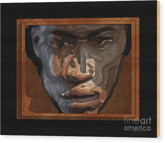 Face In A Box Wood Print by Walter Oliver Neal