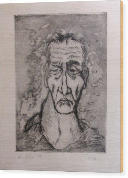 Face Marked By Fatigue Wood Print by Alfonso Robustelli