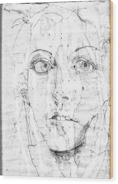 Face Of A Girl Wood Print