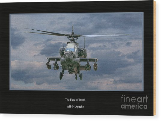 Face Of Death Ah-64 Apache Helicopter Wood Print
