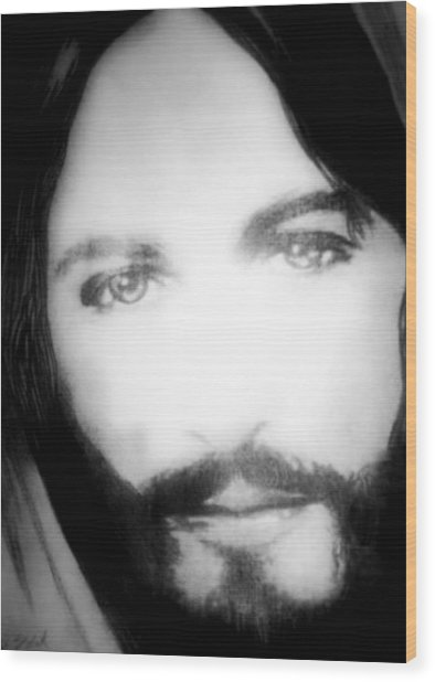 Face Of Jesus Wood Print