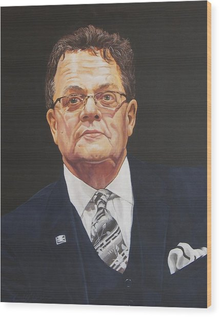 Faces Of Oroville - Jim Moll Wood Print by Kenneth Kelsoe
