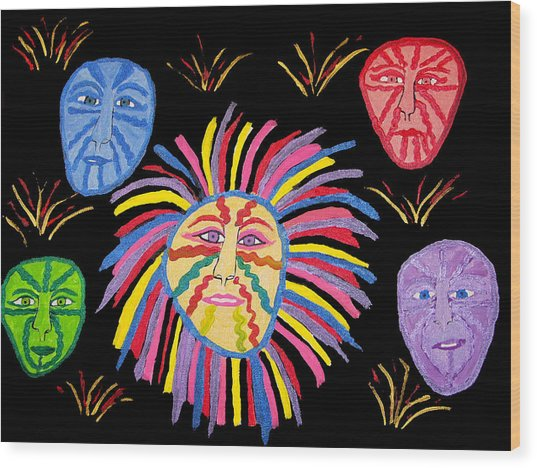 Faces Out Of The Dark  Wood Print by Betty  Roberts