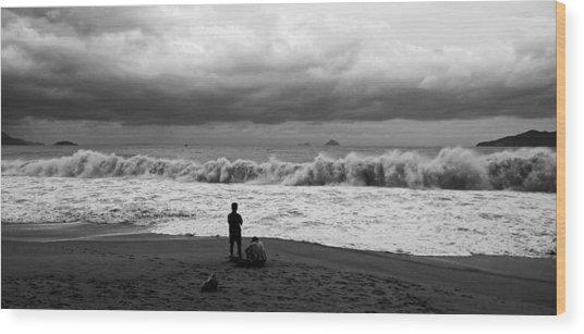 Facing The Storm Wood Print by Kim Lagerhem