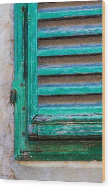 Faded Green Window Shutter Wood Print