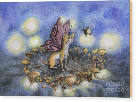 Faerie Dog Meets In The Faerie Circle Wood Print