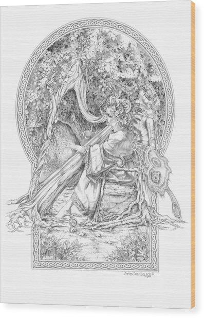 Faerie IIi - Woodland Opus - A Legendary Hidden Creation Series Wood Print by Steven Paul Carlson