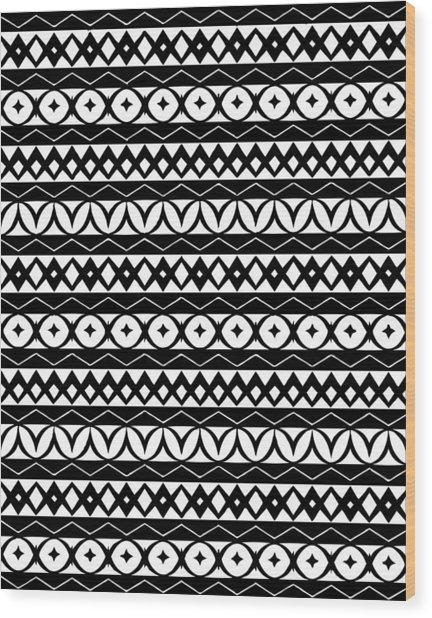Fair Isle Black And White Wood Print