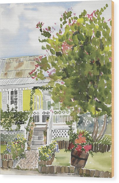 Fairfield Cottage Wood Print by Anji Worton