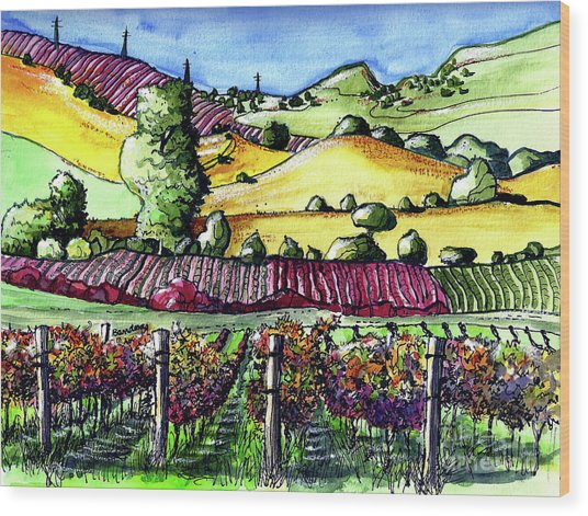 Fairfield Vineyards Wood Print
