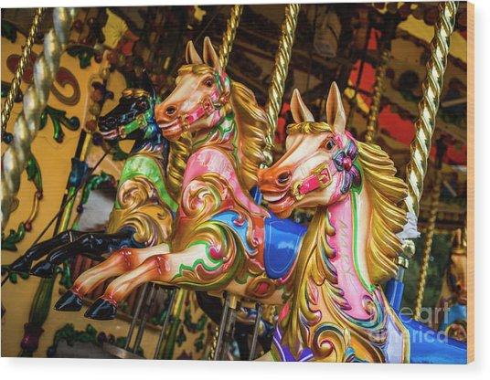 Fairground Carousel Horses Wood Print