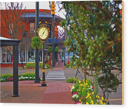 Fairhope Ave With Clock Down Section Street Wood Print