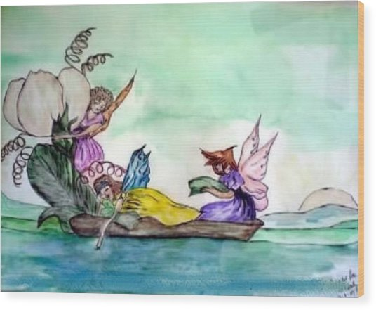 Fairies At Sea Wood Print
