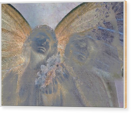 Fairies With White Flowers Wood Print by Heike Schenk-Arena