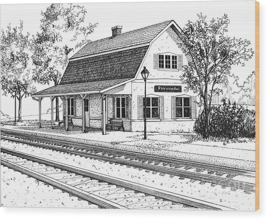Fairview Ave Train Station Wood Print