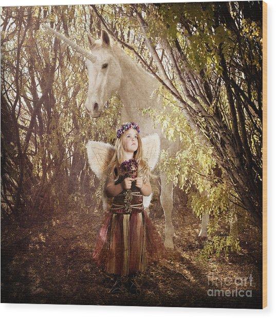 Fairy And Unicorn Wood Print