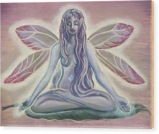 Fairy Doing Yoga Wood Print