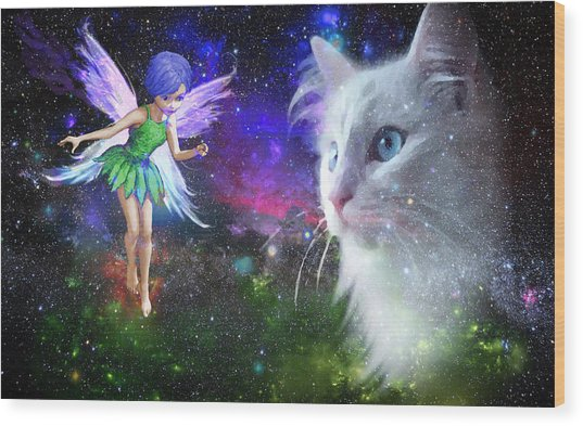 Fairy Encounters Cat  Wood Print