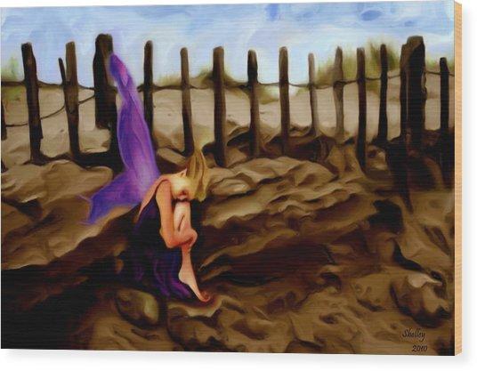 Fairy Sleeping On The Dunes Wood Print by Shelley Bain