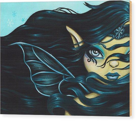 Fairy Snowflake Wood Print by Elaina  Wagner