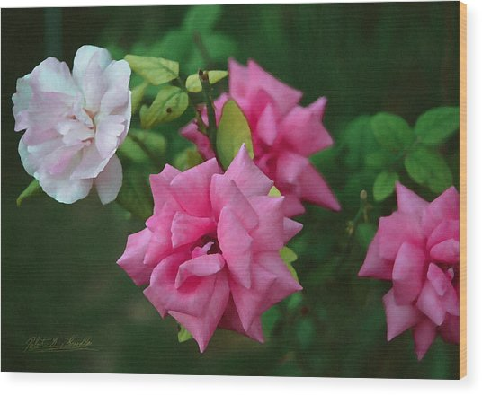 Fake Painting Of Roses Wood Print