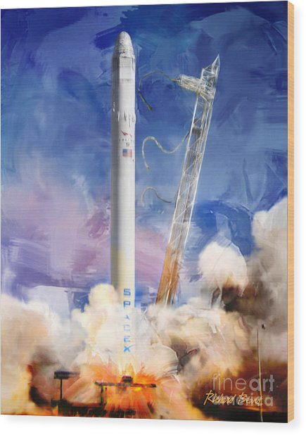 Falcon 9 Liftoff Wood Print