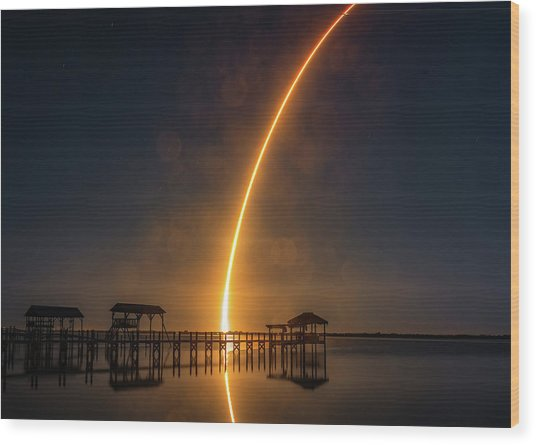Falcon 9  Night Launch Wood Print