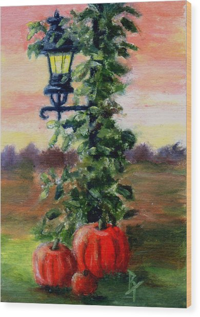 Fall Aceo Wood Print by Brenda Thour