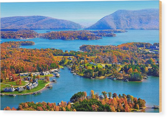Fall Aerial Smith Mountain Lake Wood Print