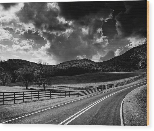 Fall Along Joe Brown Highway In Black And White Wood Print