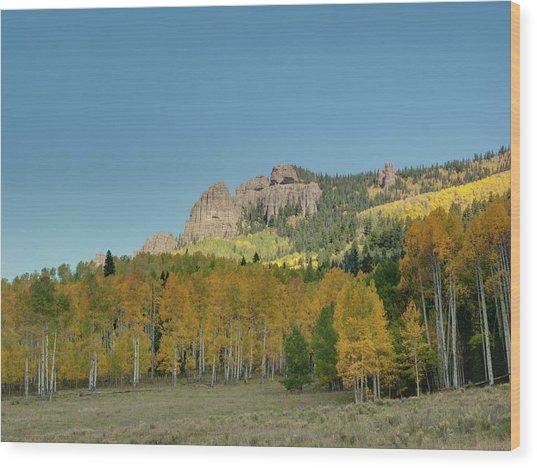 Fall Aspens Wood Print by Linda Weyers