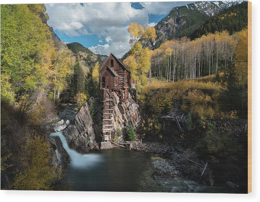 Fall At Crystal Mill Wood Print