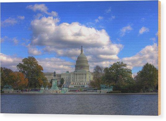 Fall At The Capital Building Wood Print
