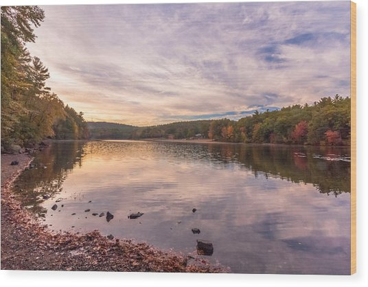 Fall At The Pond Wood Print