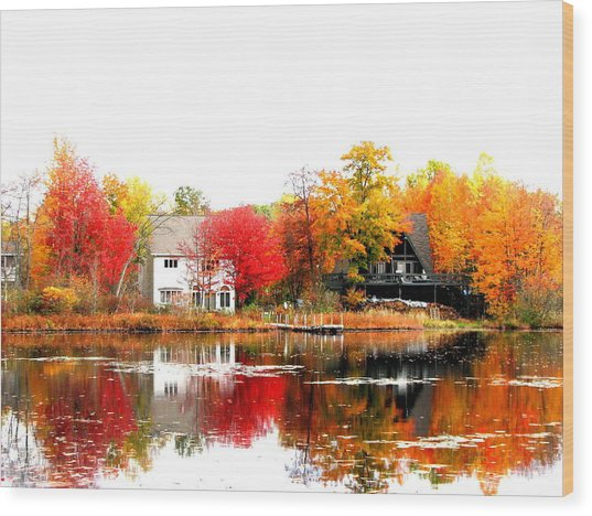 Fall At The Pond Wood Print