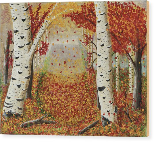 Fall Birch Trees Wood Print