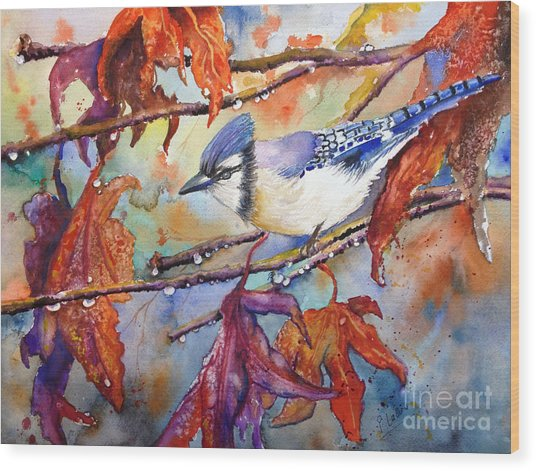 Wood Print featuring the painting Fall Blue Jay by Priti Lathia