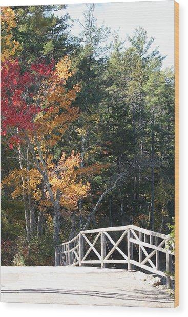 Fall Bridge Wood Print by Sue Mayor