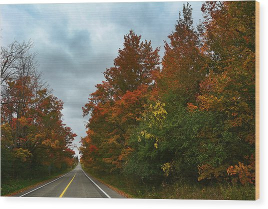 Fall Colors Dramatic Sky Wood Print