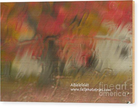 Fall Colors In The Rain Wood Print