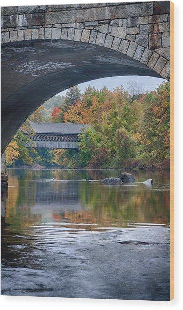 fall colors over Henniker covered bridge Wood Print