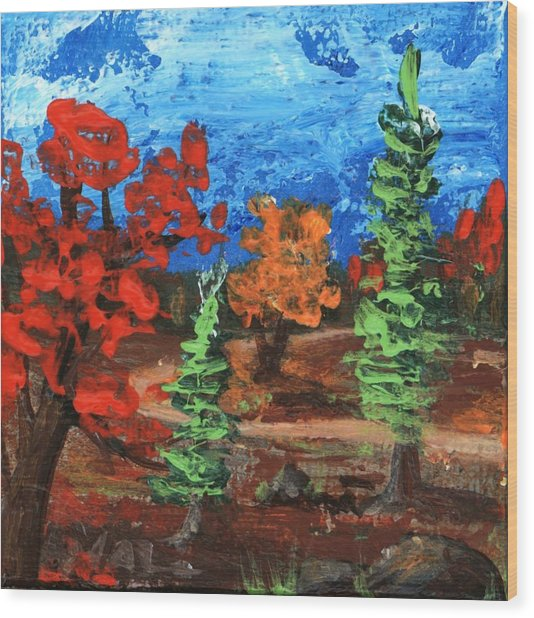 Wood Print featuring the painting Fall Colours #1 by Anastasiya Malakhova