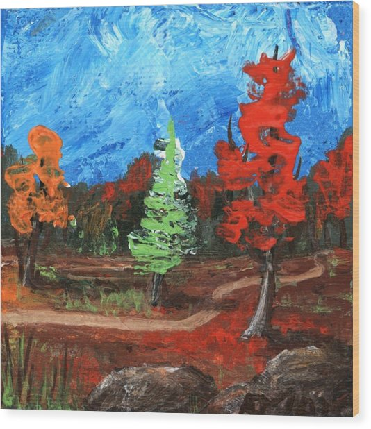 Wood Print featuring the painting Fall Colours #2 by Anastasiya Malakhova