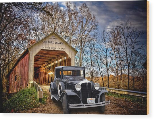 Fall Country Drive Wood Print