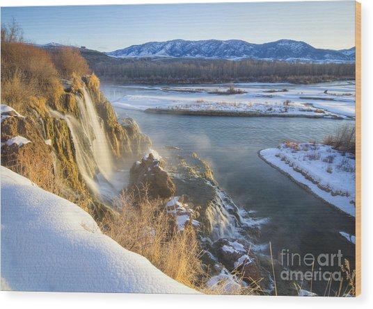 Fall Creek Winter Wood Print