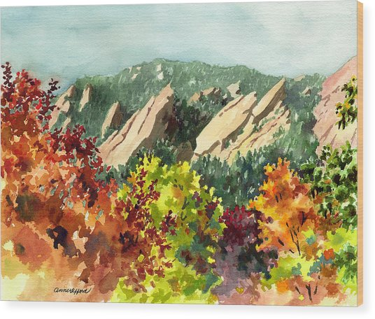 Fall Flatirons Wood Print