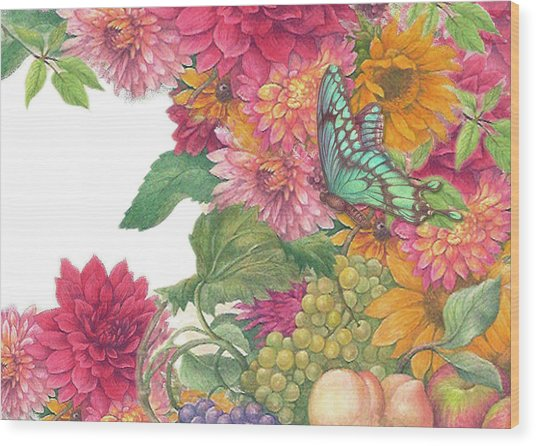Fall Florals With Illustrated Butterfly Wood Print