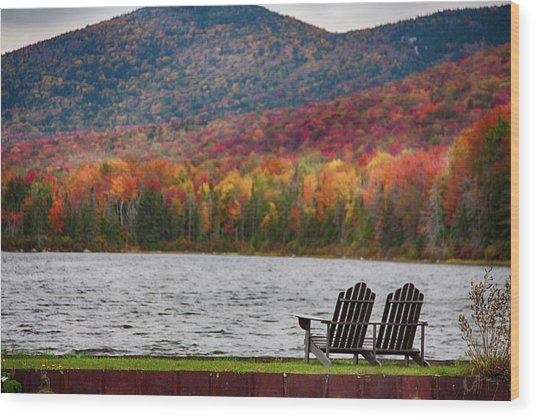 Fall Foliage At Noyes Pond Wood Print